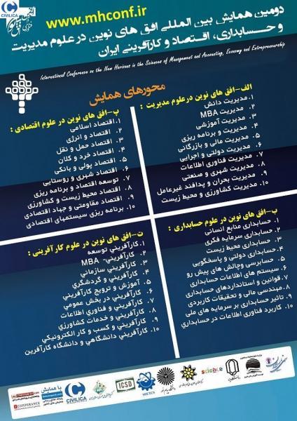 دومین همایش بین المللی افق های نوین در علوم مدیریت و حسابداری، اقتصاد و کارآفرینی ایران