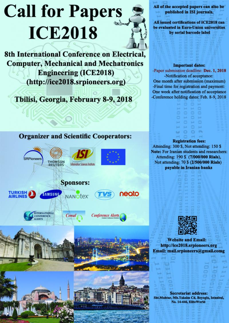 8th International Conference on Electrical,Computer,Mechanical and Mechatronics Engineering