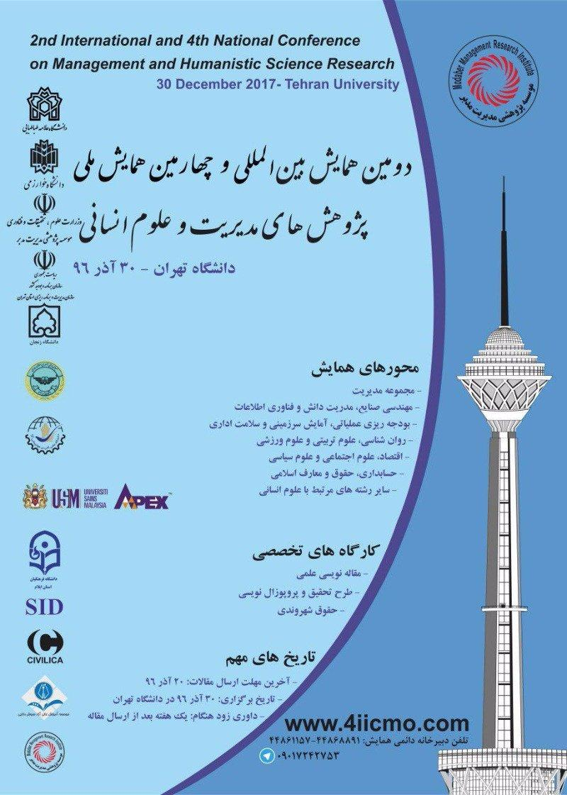 دومین همایش بین المللی و چهارمین همایش ملی پژوهش های مدیریت و علوم انسانی در ایران - 96