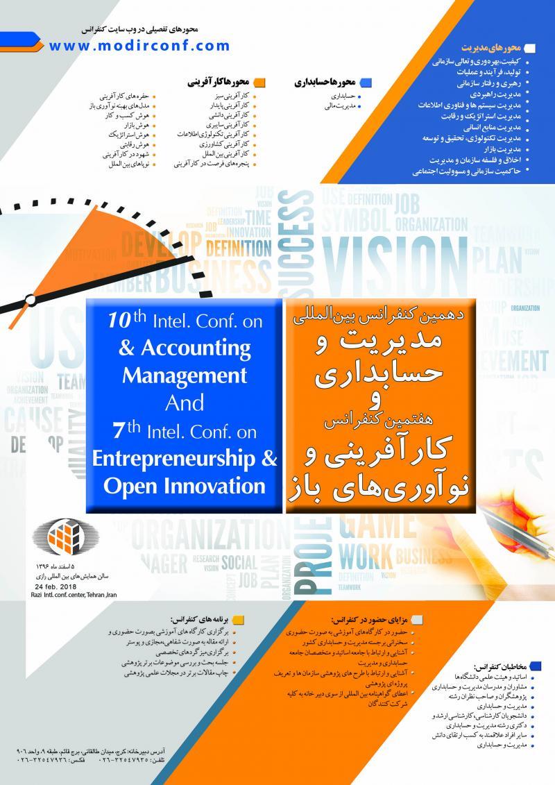 دهمین کنفرانس بین المللی حسابداری مدیریت و هفتمین کنفرانس کارآفرینی و نوآوری های باز ؛تهران - 96