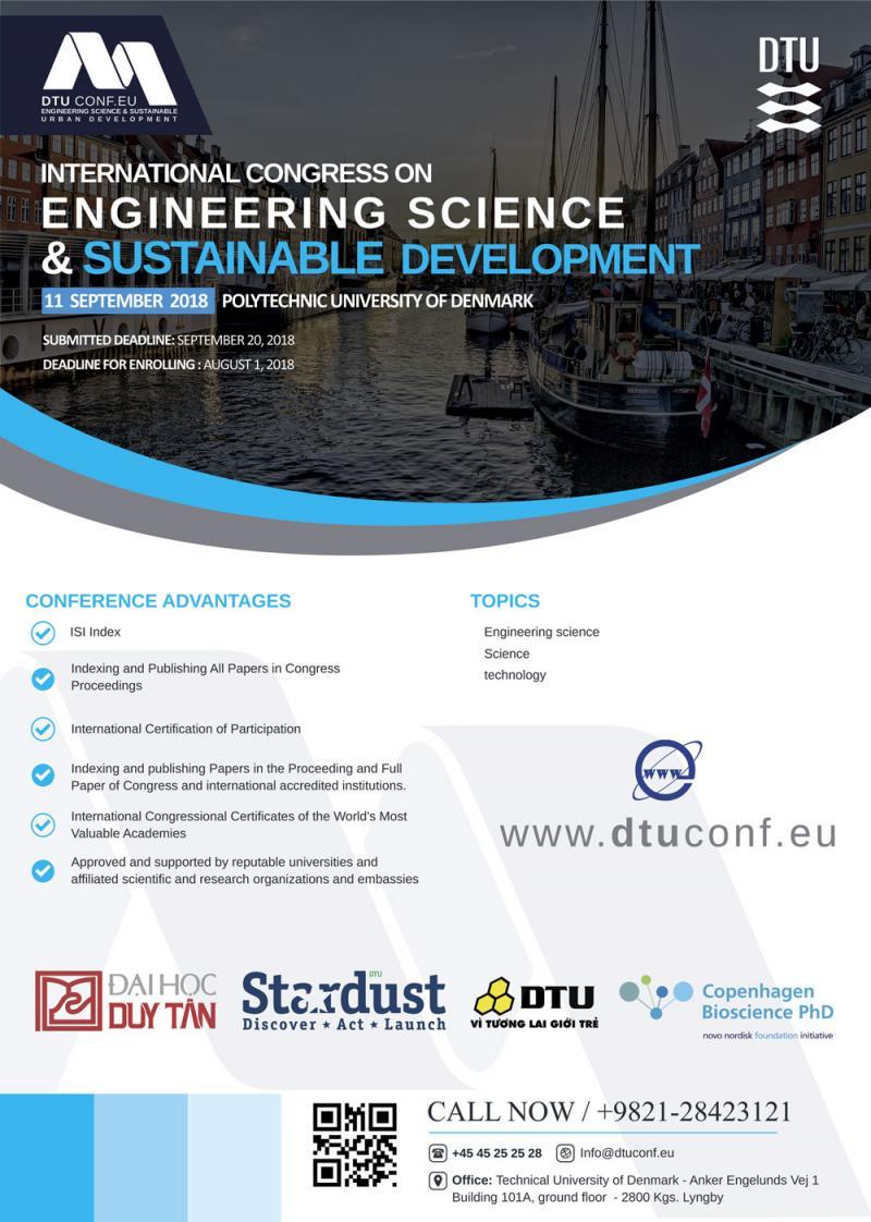 کنگره بین المللی علوم مهندسی و توسعه پایدار؛ دانمارک - شهریور 97