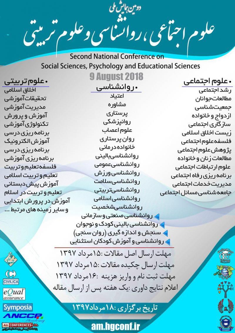 همایش علوم اجتماعی ،روانشناسی و علوم تربیتی ؛جیرفت - مرداد 97