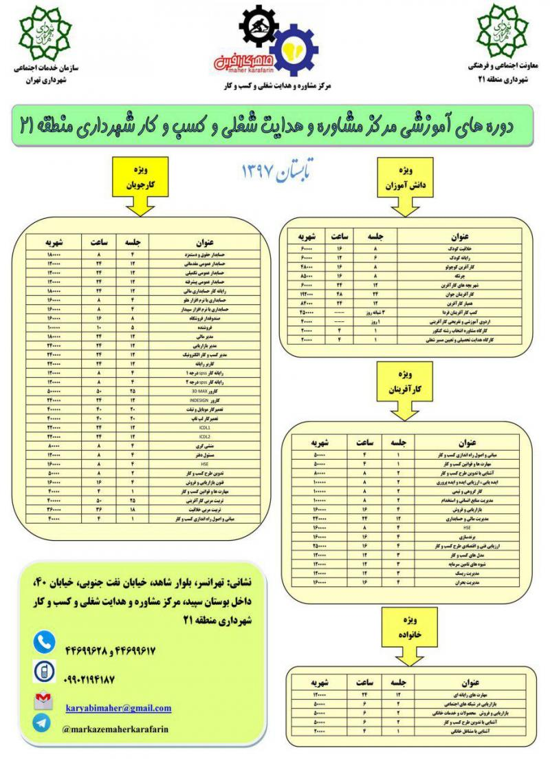 دوره های آموزشی مرکز مشاوره و هدایت شغلی و کسب و کار شهرداری ؛تهران - شهریور 97