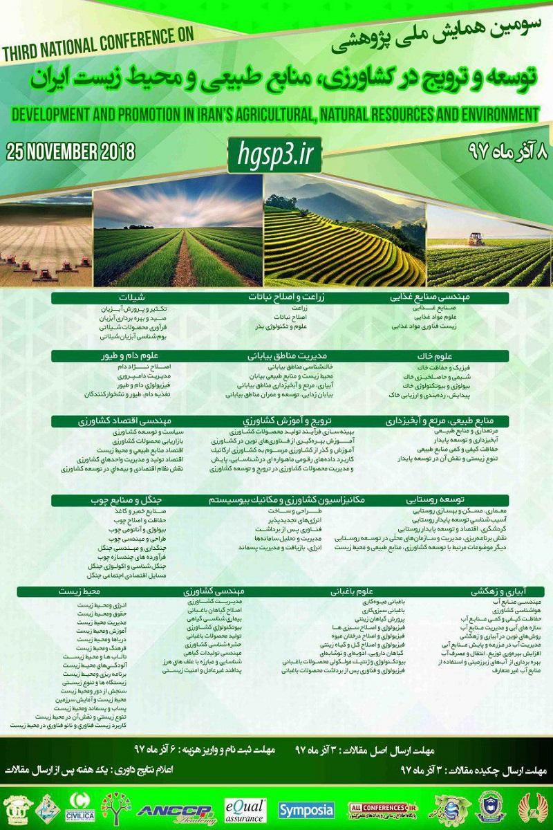 همایش پژوهشی توسعه و ترویج در کشا ورزی ،منابع طبیعی و محیط زیست ایران ؛جیرفت - آذر 97