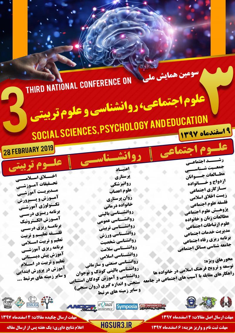 همایش علوم اجتماعی ،روانشناسی و علوم تربیتی ؛جیرفت - اسفند 97